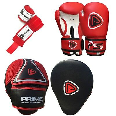 Kids boxing gloves punch bag junior mitts & focus pads hand wraps training set 5