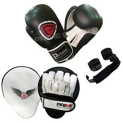 Prime Leather Junior Boxing Gloves Focus Pads Hand Wrap Training Set 10