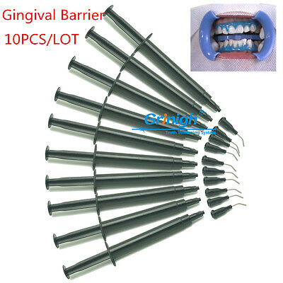 10x Professional Gingival Gum Dam Barrier Syringes Nibs Before Teeth Whithening