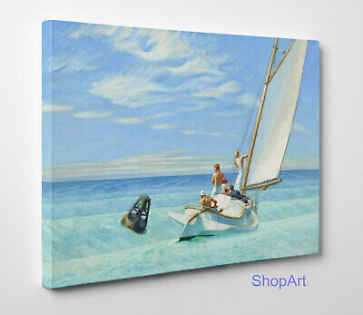 ⛵️ Quadro Hopper Ground Swell Stampa Fine Art su Tela Canvas Vernice Pennellate