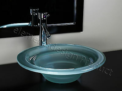 """Bathroom 1/2 """"Tempered Artistic Glass Vessel Vanity Sink Chrome Faucet A76D1"""