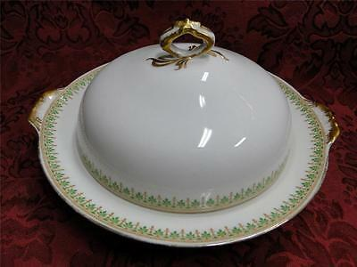 Charles Ahrenfeldt, Limoges AHR8 Green Leaves: Round Covered Butter with Insert