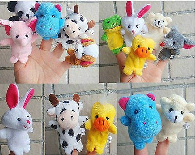 Set of 10 Zoo Farm Animals Finger Puppets Plush cloth Toys for Bed Story telling