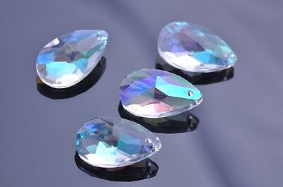 5pcs 28x17mm Teardrop Faceted Crystal Glass Charms Loose Beads Pendants Clear AB