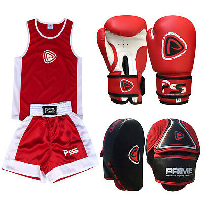 Kids Uniform Boxing Top & Bottom + Boxing Gloves + Focus Pads Red 1103,1008, set