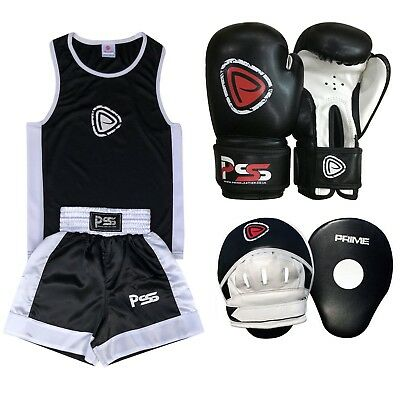 Kids Uniform Boxing Set 2 Pieces With Boxing Gloves Focus Pads Black 3-14 Years