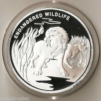 CONGO DEMOCRATIC REPUBLIC 10 FRANCS 2007 WILDLIFE ANIMAL LION - PROOF COIN 40mm