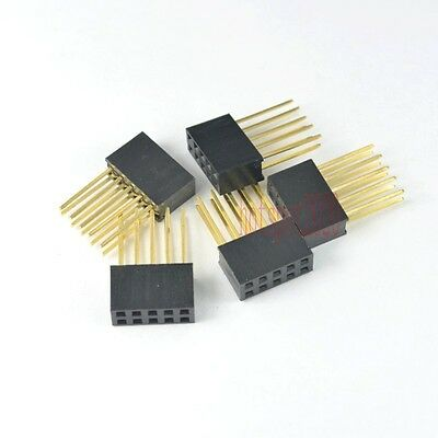 50pcs 2.54mm 2x5 10pin Double Row Female stackable Straight Header socket Strip
