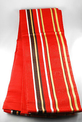 "Vintage Japanese Casual Kimono Red OBI Sash L11'4"" x W6.0"" from Japan"