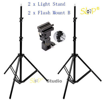Photography Studio Light Stand Umbrella Holder Swivel Flash Bracket Mount B Kit