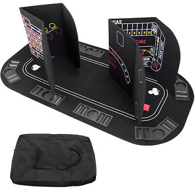 5 in 1 Texas Holdem Poker Blackjack Craps Roulette Baccarat Folding Table Top