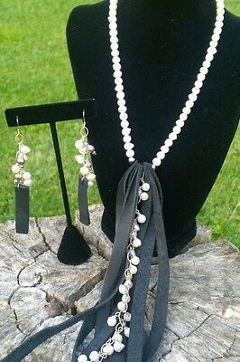 Leather Pearl Necklace and Earring Set