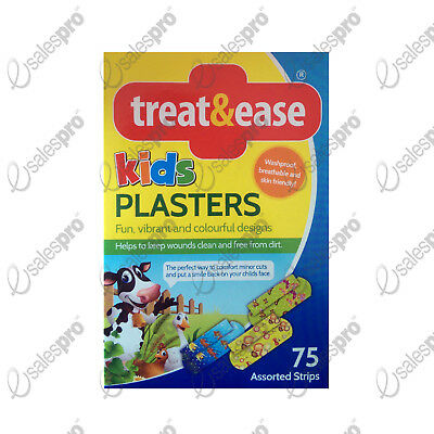 75 fun childrens kids plasters band aids waterproof washable sterile breathable