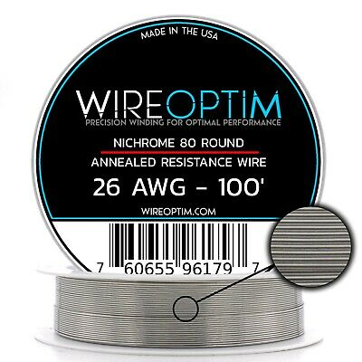 Nichrome 26 Gauge AWG Wire 100' Roll .40mm , 2.657 Ohms/ft Resistance