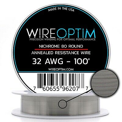 Nichrome 32 Gauge AWG Wire 100' Roll .20mm , 10.586 Ohms/ft Resistance