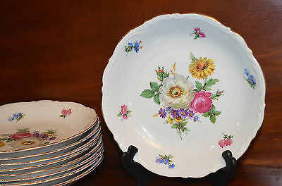 """Vintage """"Meissen Floral"""" 8"""" Coupe Soup Bowl(s) By Mitterteich Bavaria Germany"""
