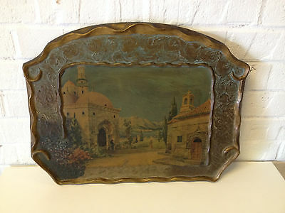 Vintage Antique 1920's / 1930's Marion Mfg Co. Print of Churches on Wood