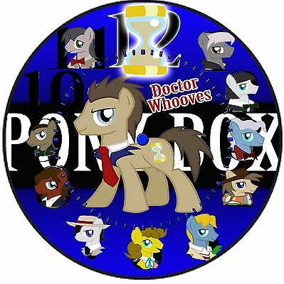 L@@K! Doctor Whooves Wall Clock - Pony Doctors and Pony Box background - Tardis