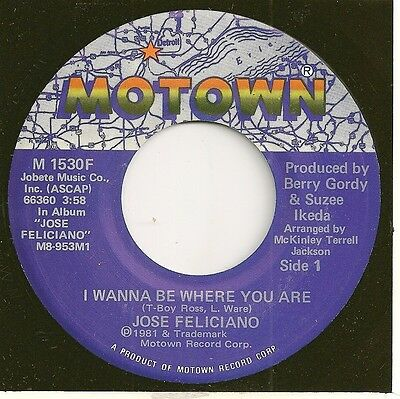 JOSE FELICIANO 45  I Wanna Be Where You Are / Let's Make Love Over The Telephone
