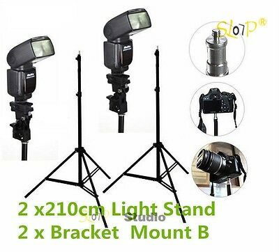 2x210cm Photo Studio Light Stand Video Lighting Umbrella Flash Bracket Mount Kit