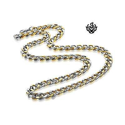 """Silver gold 2-tone necklace solid stainless steel Miami Cuban Link Chain 24"""""""