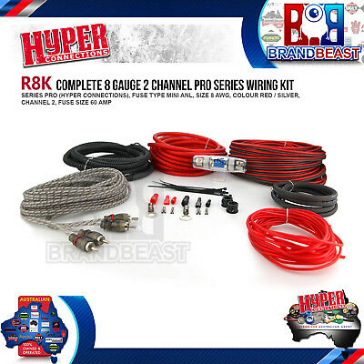 Hyper Car Audio 2 Channel Guage Power Amplifier Amp Wiring Rca Kit Cable Rca 8Ga