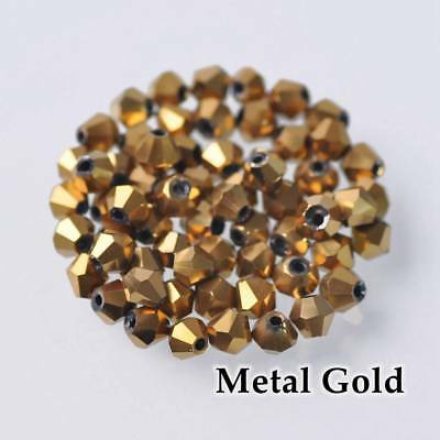 HOT 200pcs 3mm Bicone Faceted Crystal Glass Loose Spacer Beads Gold  Plated