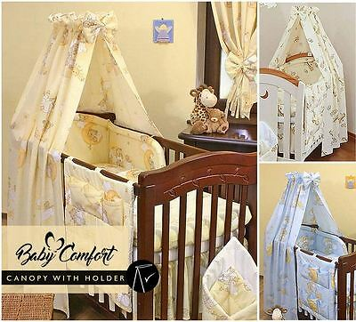 New Baby Cotton Fabric Canopy / Drape + Holder For Nursery Cot / Cot Bed