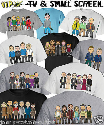 VIPwees Mens T-Shirt TV & Small Screen Inspired Caricatures Choose Your Design