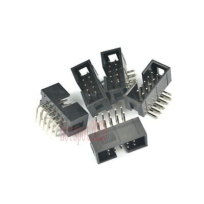 10pcs 2.54mm 2x5 10 Pin Right Angle Male Shrouded PCB Box header IDC Connector