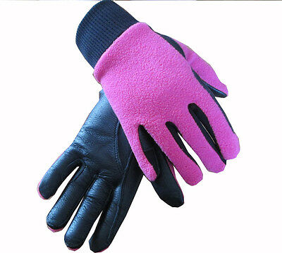 Childrens Winter Leather Horse Riding Gloves Fleece Backed Small Medium Large