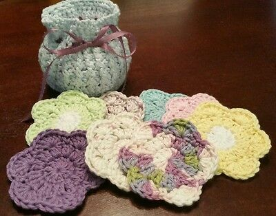 Lot of 7 face scrubbies with basket (crochet, handmade)