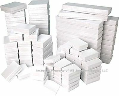 100 Assorted Mix Sizes White Swirl Cotton Fill Jewelry Gift 2 Pc Boxes