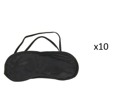 10 Ten Pack Eye Masks Blindfold Sleeping Aid Black Travel Face Cover