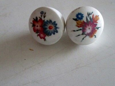 Antique Vintage Ceramic Hand Painted Floral Drawer Pulls Cabinet Knobs Handles