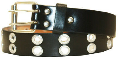 Men Women Unisex 2 Holes Row Grommet Bonded Leather Belt Metal Buckle Black