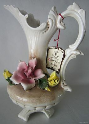"""Large Vintage C.C.I. CAPODIMONTE Pottery 12"""" Floral ROSE Ewer Pitcher ITALY"""
