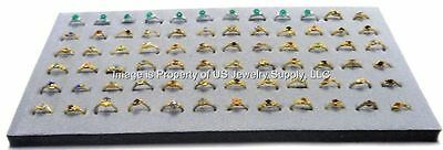 "12 Grey 72 Ring Jewelry Display Liner Insert Pads 14 3/4"" x 7 3/4"""