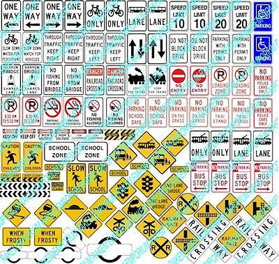 HO Scale Traffic Signs, Aussie Model Railway Traffic Signs - 114 Signs - HOTS1