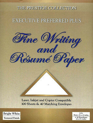 Fine Writing and Resume Paper Bright White - 100 Sheets & 40 Matching Envelopes