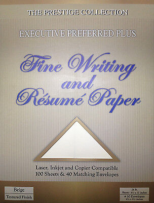 Fine Writing and Resume Paper Beige - 100 Sheets & 40 Matching Envelopes