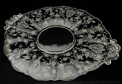 Cambridge ROSE POINT - Clear ~ Handled Cake Plate
