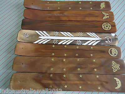 1 x Indian Hand Made Wooden Incense Stick Holder Ash Catcher Boat Choose Design