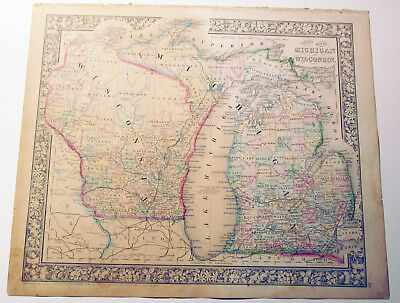 "Mitchell's Antique Map ~ ""County Map of Michigan and Wisconsin""  ~1863 historic"