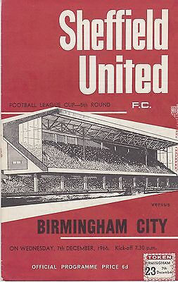 SHEFFIELD UNITED v BIRMINGHAM CITY ~ LEAGUE CUP 5TH ROUND ~ 7 DECEMBER 1966