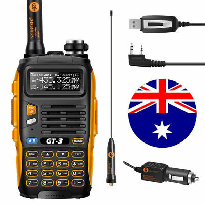 2-4d! Baofeng GT-3 MarkII + USB Cable Kit VHF/UHF Ham Transceiver Two-way Radio