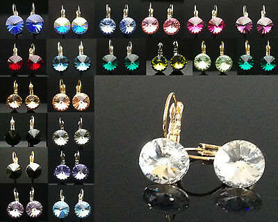 Birthstone Earrings Genuine SWAROVSKI Elements Wedding 10mm Silver Gold Crystal