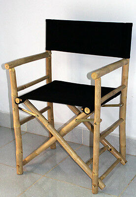 "Set of 2 Pieces Bamboo Director Chair, Black Canvas,   23""W x 19""D x 35""H"