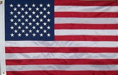 SEWN STRIPES USA AMERICAN FLAG 2 feet X 3' feet  EMBROIDERED STARS 210 POLYESTER