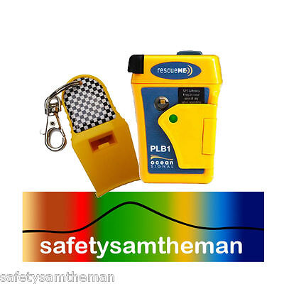 OCEAN SIGNAL rescueME 406MHz GPS PLB1 WITH YELLOW 120 DB SURVIVAL RESCUE WHISTLE